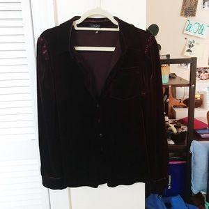 Burgundy Velvet Button Up Shirt